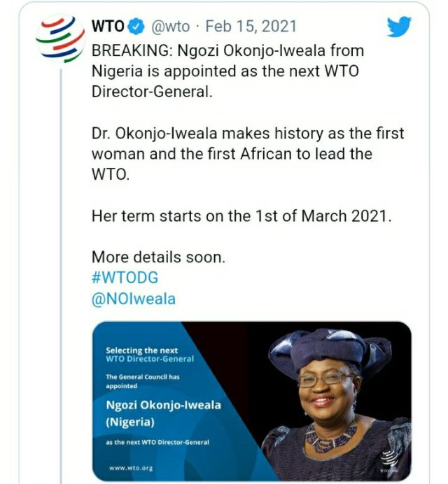 Ngozi Okonjo-Iweala is Officially World Trade Organization's Director-General 2