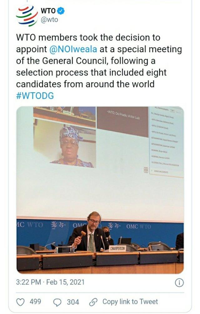 Ngozi Okonjo-Iweala is Officially World Trade Organization's Director-General 3
