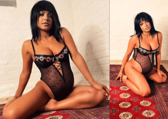 Pregnant Christiana Milan shares sexy photos of herself posing in Fenty lingerie 1