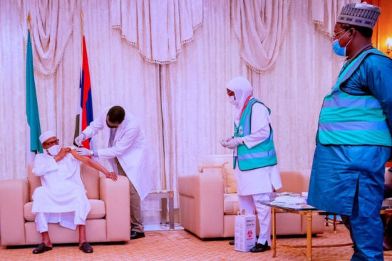 President Buhari receives second dose of the AstraZeneca/Oxford COVID-19 Vaccine at the State House 1