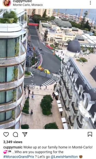 DJ Cuppy watches the Monaco Grand Prix 2021 from the balcony of the Otedola family home in Monté Carlo 2