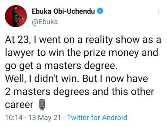 """""""At 23, I was a lawyer on a reality show"""" – Ebuka recounts baby steps that led to his success 2"""
