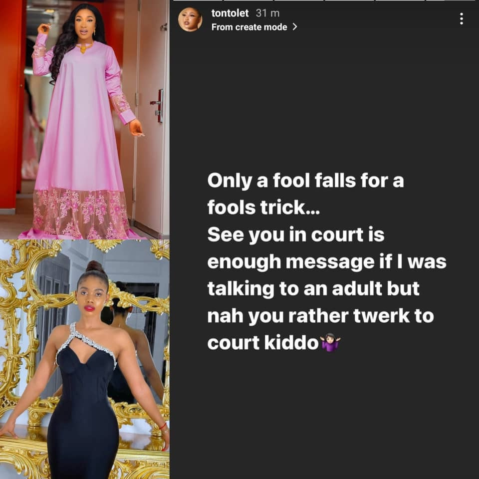 ''Twerk to court''- Tonto Dikeh fires back at Janemena after she dared her to release the alleged sex tapes