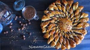 Tarte soleil à la pâte à tartiner et nougatine