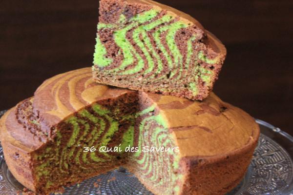 Zebra cake (gâteau zébré ) au chocolat et à la pistache