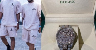 Davido gifts his cousin, Tunji Adeleke, a k Rolex (photos)