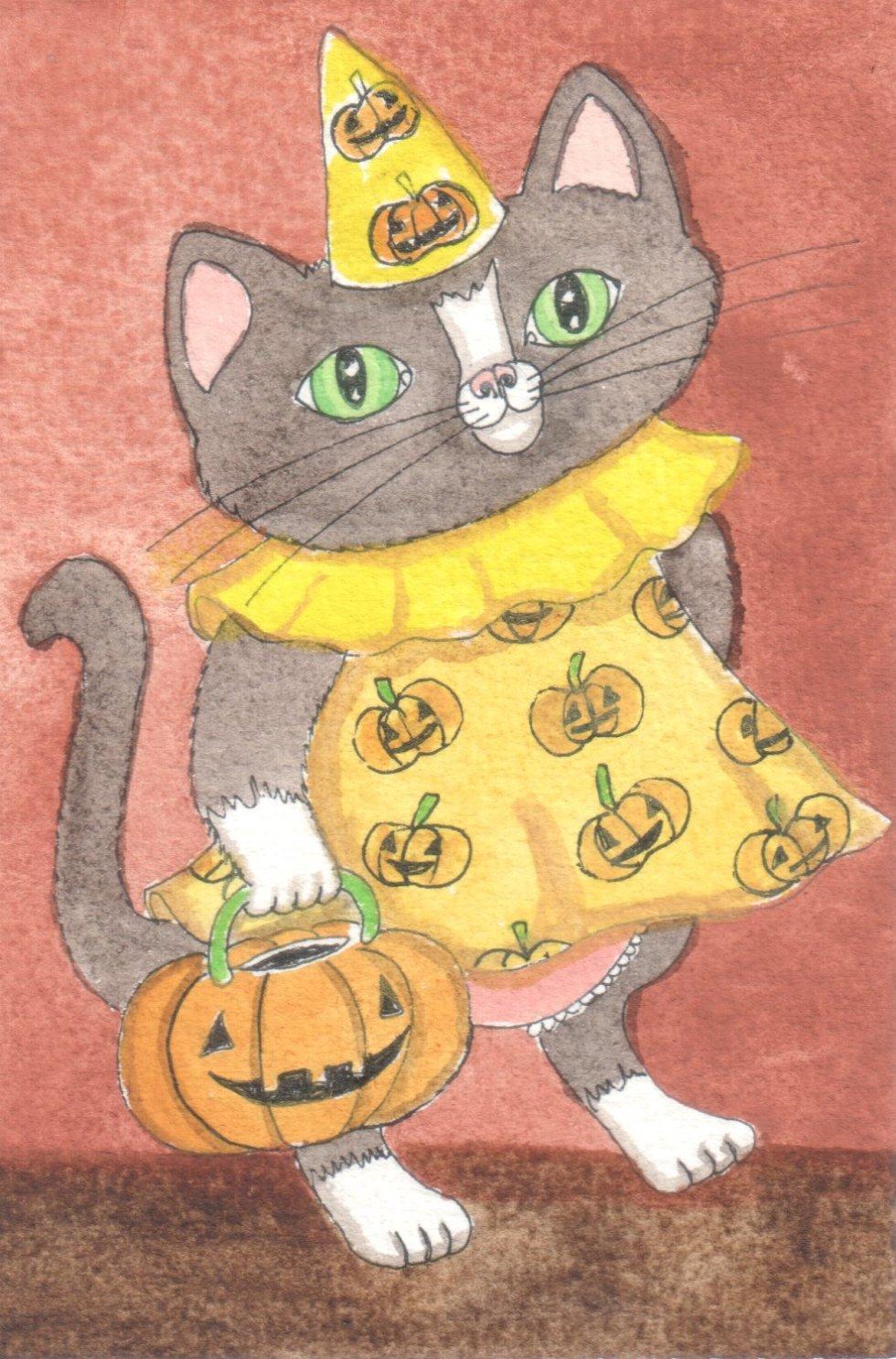 Halloween Tuxedo Cat Jo Potocki Original Painting Watercolor Kitten Cat Art | eBay