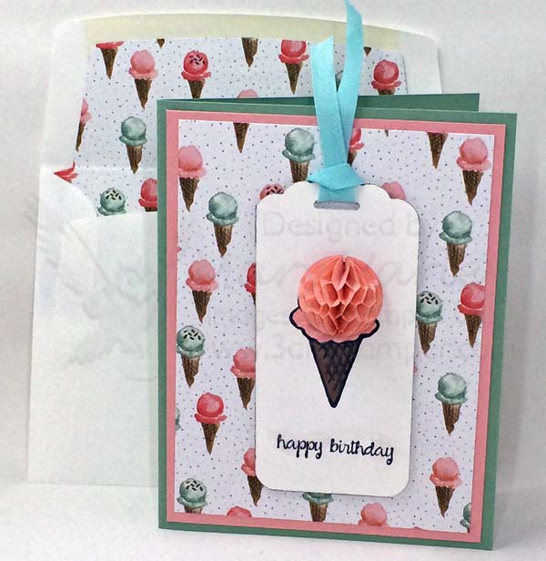 Honeycomb Cone BD Card with Matching Lined Envelope - Visit http://www.3amstamper.com