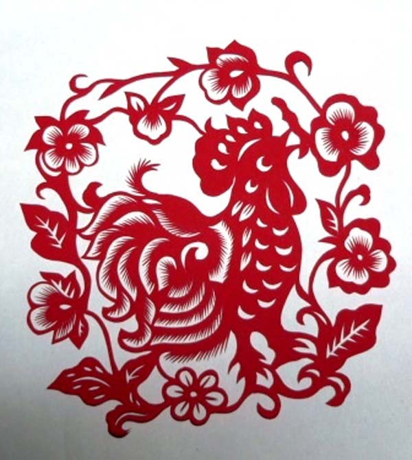 Rooster Paper Cutting Image from Jiazzhi