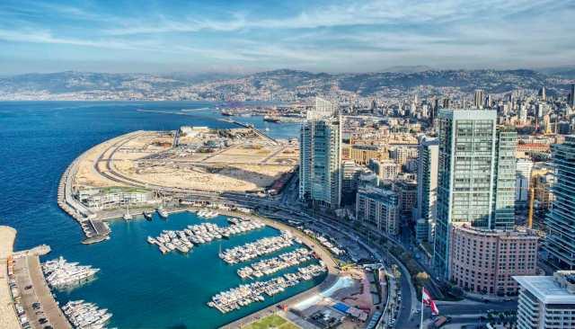 Aerial View of Beirut Lebanon, City of Beirut