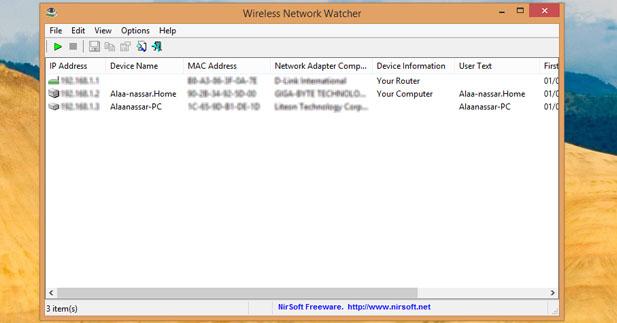 برنامج Network Watcher لمعرفه من معك علي الشبكه ومن يسرق منك