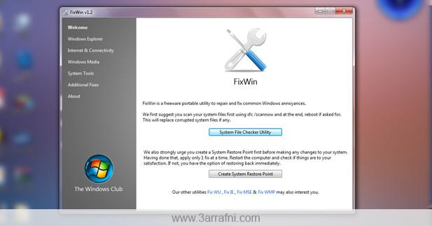 اصلاح مشاكل ويندوز 7 بضغطه زر واحده Fixwin عرفني دوت كوم