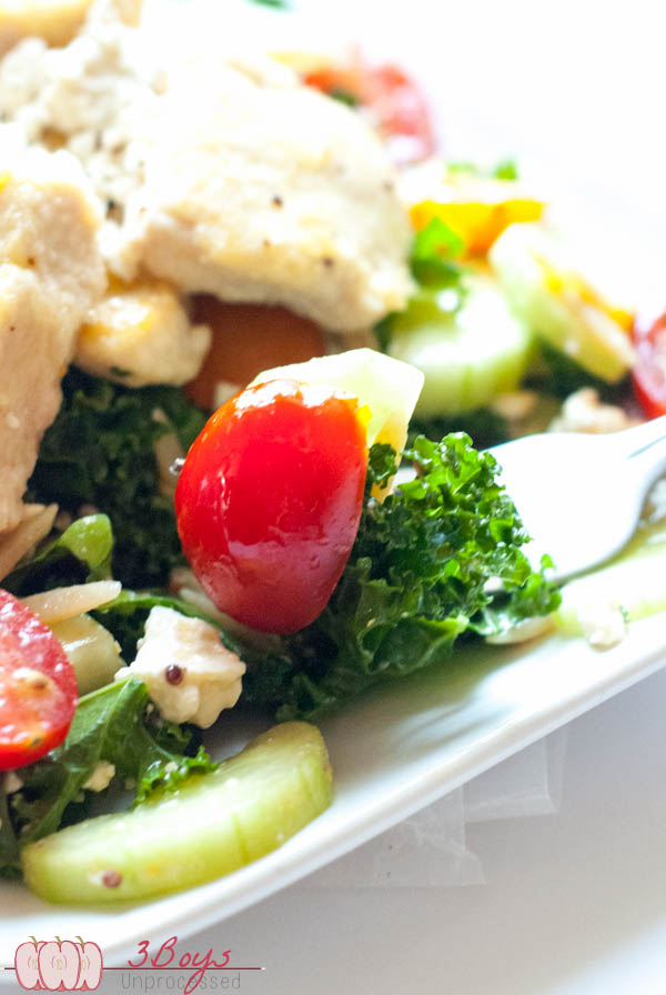 Greek Kale and Orzo Salad    www.3boysunprocessed.com