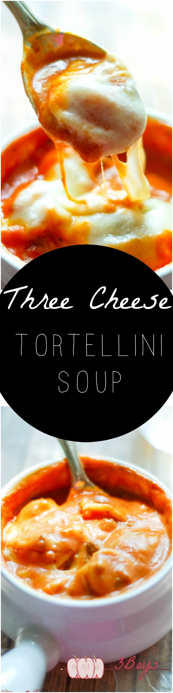 Three Cheese Tortellini Soup || A delicious blend of ground beef, cheese, and tortellini smothered in a thick and creamy tomato soup. The ultimate comfort soup! || www.3boysunprocessed.com