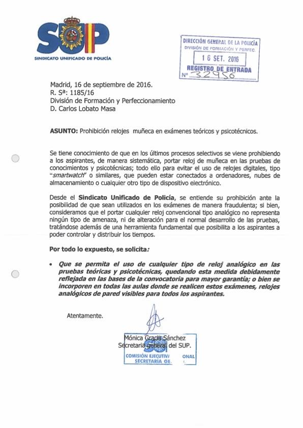 prohibicion_relojes_examenes Prohibido reloj oposición Policia Nacional