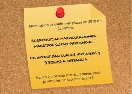 suspendidas-matriculaciones-maestros-2018 Lista interinos maestros Cantabria y otros cuerpos docentes