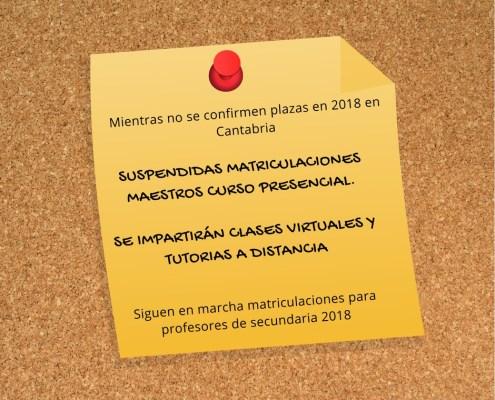 suspendidas matriculaciones maestros 2018