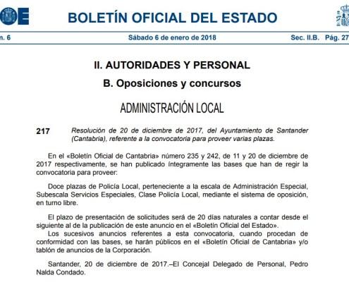 Convocatoria Oposiciones Policia Local Santander 3catorce academia oposiciones santander cantabria