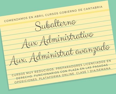 Nuevos Cursos preparación oposiciones Gobierno de Cantabria