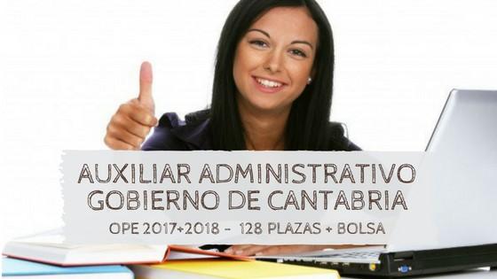 Oposiciones-auxiliar-administrativo-cantabria-2019 Publicadas las plazas OPE Estabilizacion 2018 Cantabria