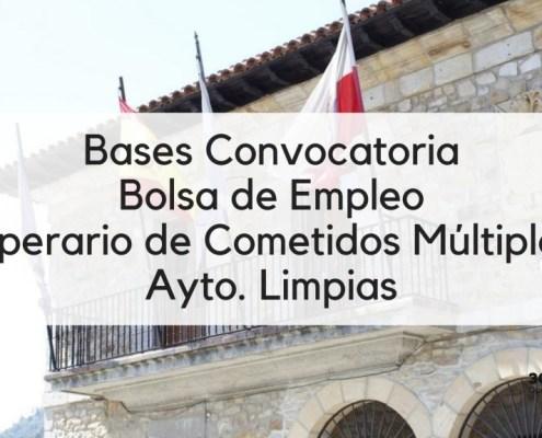 Bases Convocatoria bolsa Operario Comentidos Multiples Limpias Cantabria 2019
