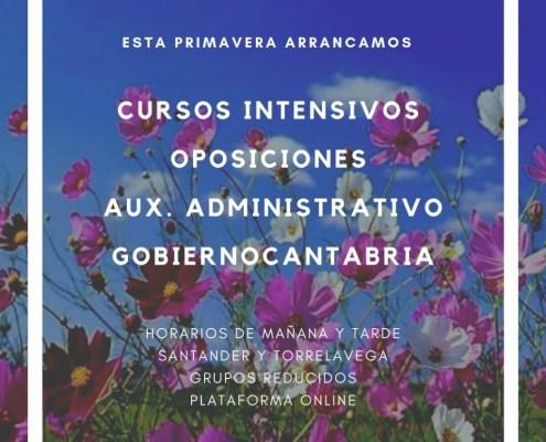 cursos intensivos oposiciones auxiliar administrativo Cantabria 2019