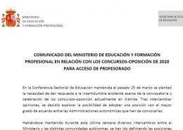 Comunicado-Ministerio-Educacion-Oposiciones-2020-1 Convocatoria oposiciones AL audicion y lenguaje Cantabria