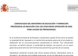 Comunicado-Ministerio-Educacion-Oposiciones-2020-1 Convocatoria oposiciones infantil Cantabria