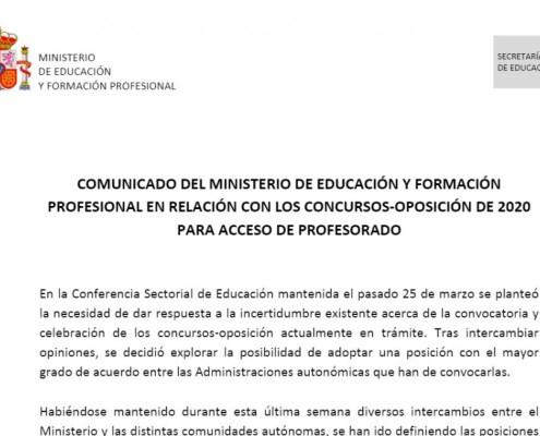 Comunicado Ministerio Educacion Oposiciones 2020