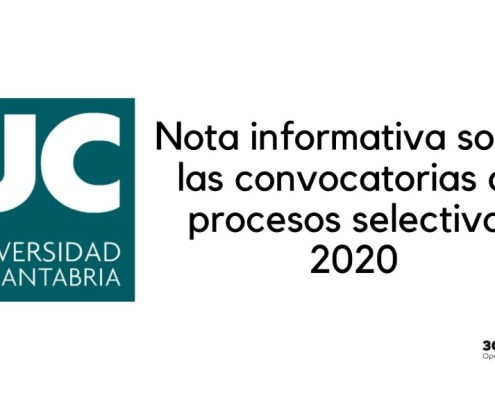 Nota informativa sobre fechas examenes oposiciones Universidad Cantabria