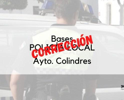 Correccion de las bases oposicion policia local Colindres