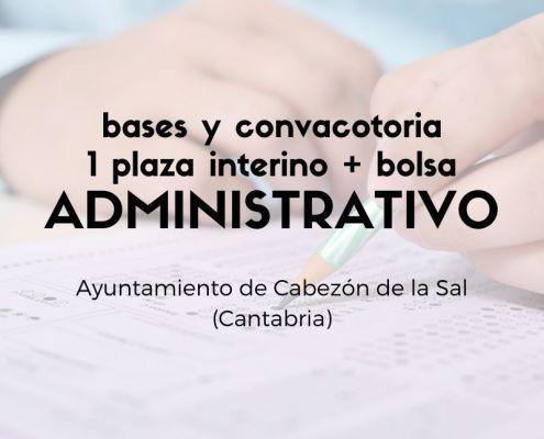Bases y convocatoria oposicion administrativo Cabezon de la Sal Cantabria