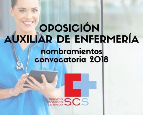 Auxiliar de Enfermeria Servicio Cantabro de Salud Nombramientos