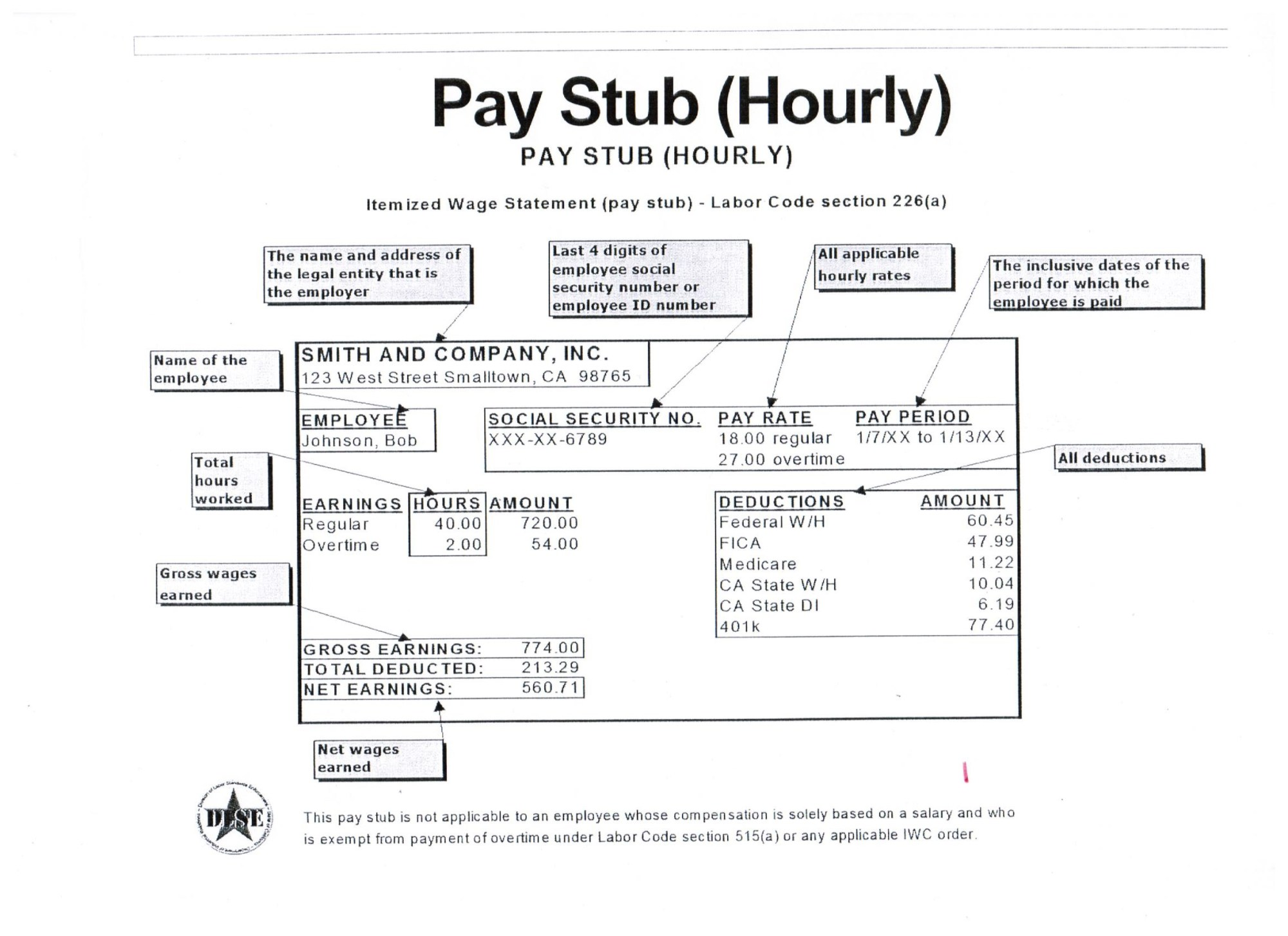 hight resolution of pay stub information