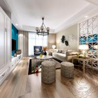 American Style Living Room Design, 3d Rendering Interior ...