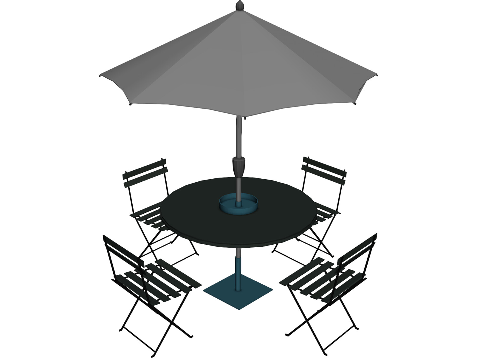 Table And Chairs With Beach Umbrella 3D Model  3D CAD Browser