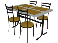 Table And Chairs Snack Bar 3D Model - 3D CAD Browser