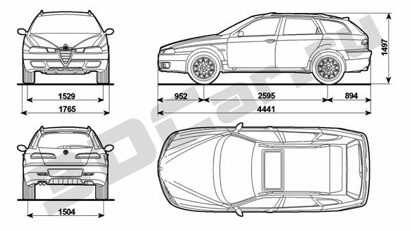 Чертеж Alfa Romeo 156 Sportwagon (2003) :: [ 3DCar.ru
