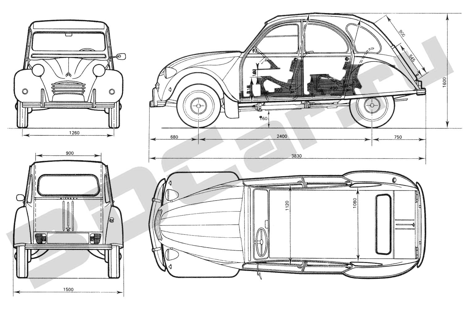 Blueprints Citroen 2cv 3dcarru