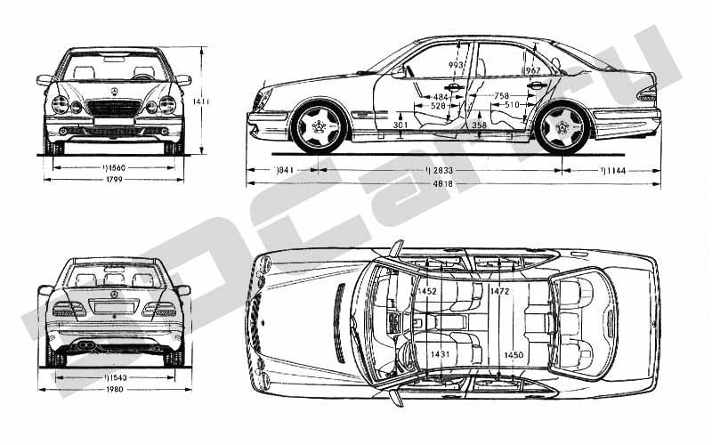 Чертеж Mercedes E-Class W210 E55 AMG (2000) :: [ 3DCar.ru