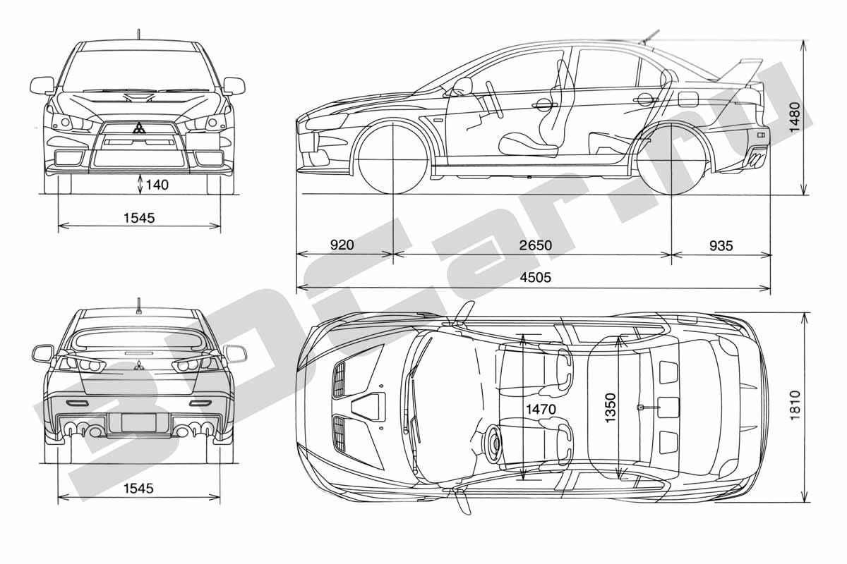 Чертеж Mitsubishi Lancer Evolution X (2007) :: [ 3DCar.ru