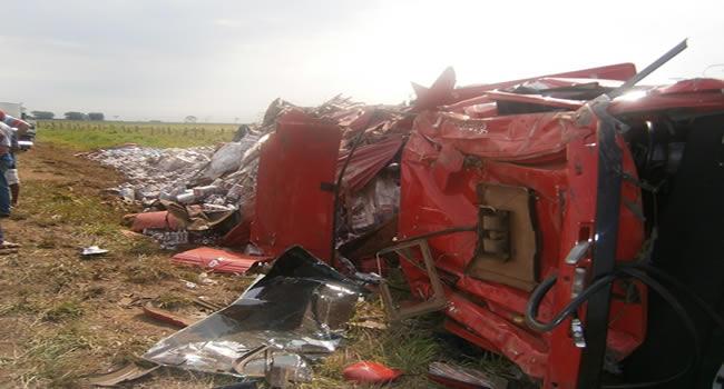 Toda a carga ficou espalhada pelo campo após o veículo sair da BR e tombar – Foto: oaltoacre.com