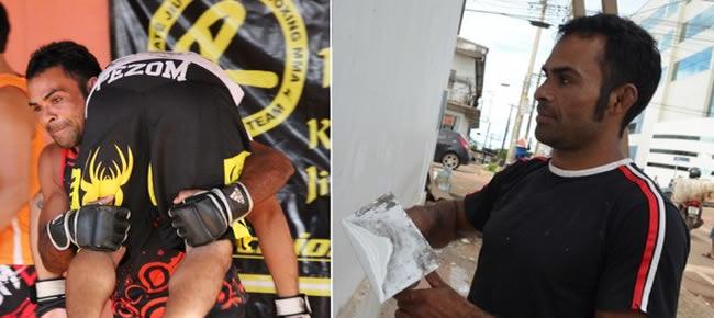 Marcos Antônio se divide entre a luta e o trabalho de pintor (Foto: GloboEsporte.com)
