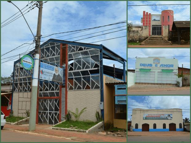 Variedade de igrejas nas ruas paralelas Valdomiro Lopes e Rua da Conquista (Foto: Amanda Borges/G1)