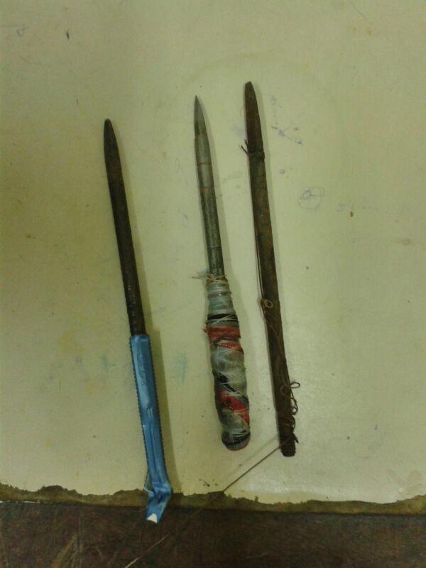 Objetos utilizados na tentativa de homícidio