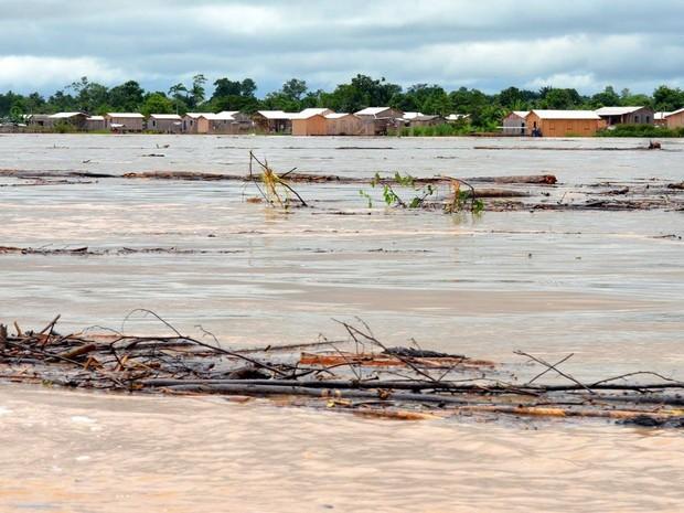 Rio Tarauacá atingiu a cota de 11,50 metros neste sábado (15) (Foto: Jardy Lopes/Prefeitura de Tarauacá)
