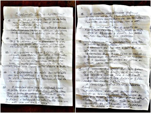 Suposto regimento interno de detentos foi encontrado durante vistoria. (Foto: Asscom / MP-AC)