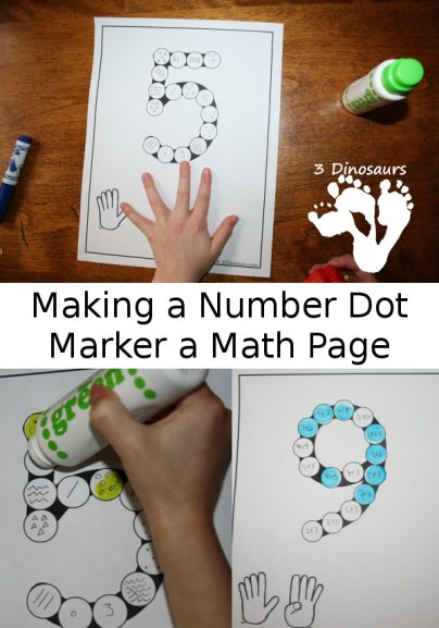 Turn a Number Dot Marker Printable Into A Math Page - 3Dinosaurs.com