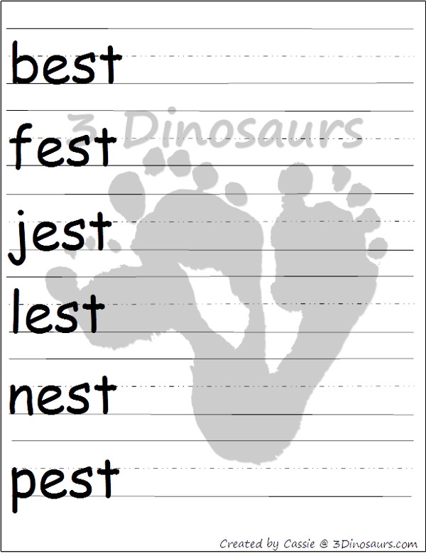 Free Cvcc Word Family Cards Amp Writing Ast Est Ist Ost