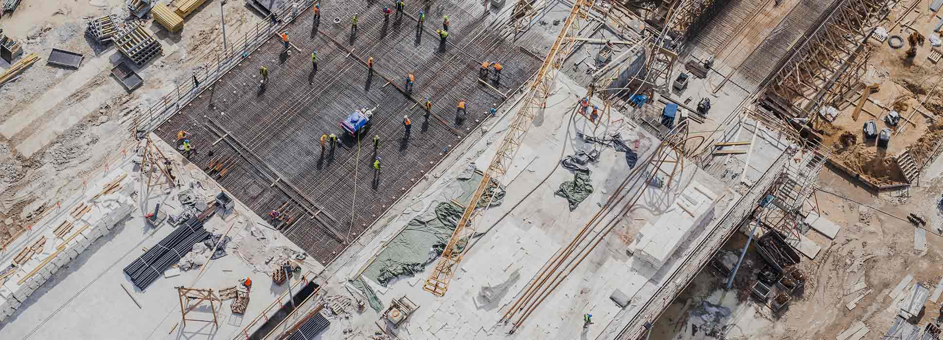 overhead view of building site
